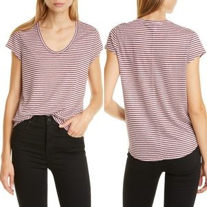 Nordstrom Signature Linen Striped Cap Sleeve Tee L